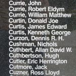 Memorial– Pilot Officer Gordon Currie is also commemorated on the Bomber Command Memorial Wall in Nanton, AB … photo courtesy of Marg Liessens