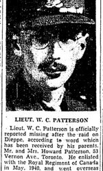 Newspaper clipping– From the Toronto Star August 1942. Submitted for the project Operation Picture Me