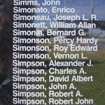 Memorial– Flight Sergeant George Robert Sims is commemorated on the Bomber Command Memorial Wall in Nanton, AB … photo courtesy of Marg Liessens