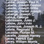 Memorial– Flight Sergeant Gerald Grenville Joseph Laronde as commemorated on the Bomber Command Memorial Wall in Nanton, AB … photo courtesy of Marg Liessens