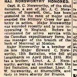 Newspaper Clipping– Notice of promotion and Military Cross awarded to Major Norsworthy's brother.