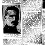 Newspaper Clipping– First part of an account published in the Toronto Star for 1 May 1915 of the battle in which Major Norsworthy was killed in action.  His death is described in this article.