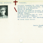 Photo of GRANVILLE HARTLEY– From the Kitchener Public Library collection of World War One Soldier Information Cards. Submitted for the project Operation Picture Me