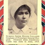 """Tribute– This tribute to Nursing Sister Minnie K. Gallaher was included in the 1919 special edition """"Our Heroes in the Great War"""" compiled by J. H. De Wolfe, Patriotic Publishing Co., Ottawa. This book included two pages of photos of nursing sisters."""