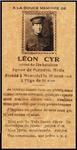 Photo de Leon Cyr – signet relatant le décès de Léon Cyr Pte61104