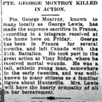 Newspaper clipping– Huntsville ON Forester 26 April 1917