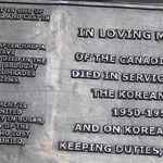 Dedication– Dedicatory inscription, Korean War Monument, Ottawa, Ontario