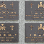 Inscription– Memorial plaques for Warrant Officer Class I James Deans Wood ,Private Thomas Richard Woodbury, Private Frederick George Works, and Private Thomas Barry Wotton on the Korean Veterans National Wall of Remembrance in Meadowvale Cemetery, Brampton, Ontario.